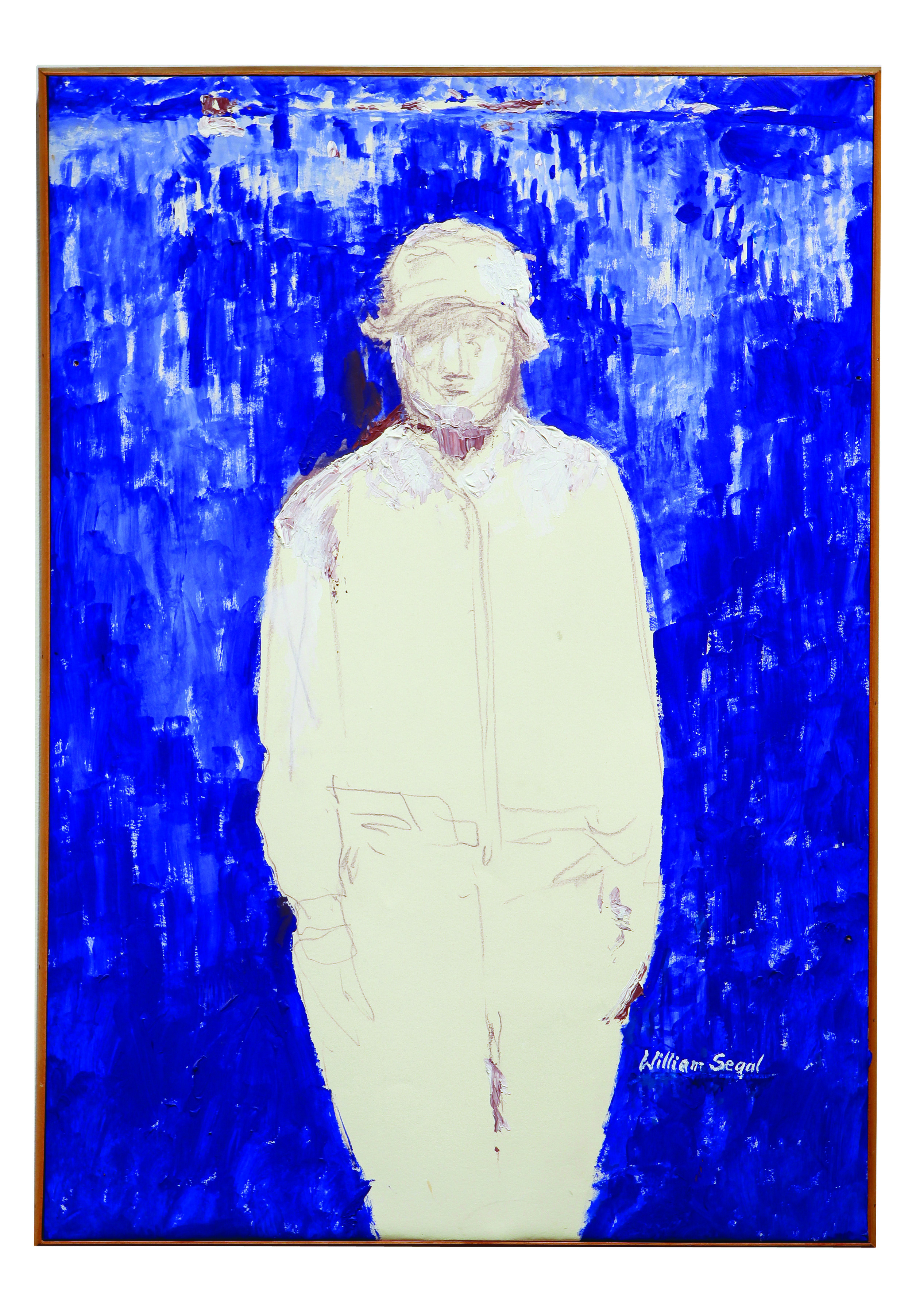 """[Image Description: A rectangular painting features a standing figure from the knee up, rendered in white with faint lines indicating the general shape of their face and outline of their clothing. The figure stands against a cobalt blue background that is painted densely at the bottom, but fades towards the top, allowing for the white background of the canvas to show through the brushstrokes. On the bottom right of the image, close to the figure's thigh is the name """"William Segal"""" painted in white.]"""