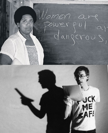 """Top: Audre Lorde (Creative Commons). Bottom: David Wojnarowicz in a still from Rosa von Praunheim's """"Silence = Death,"""" 1990."""