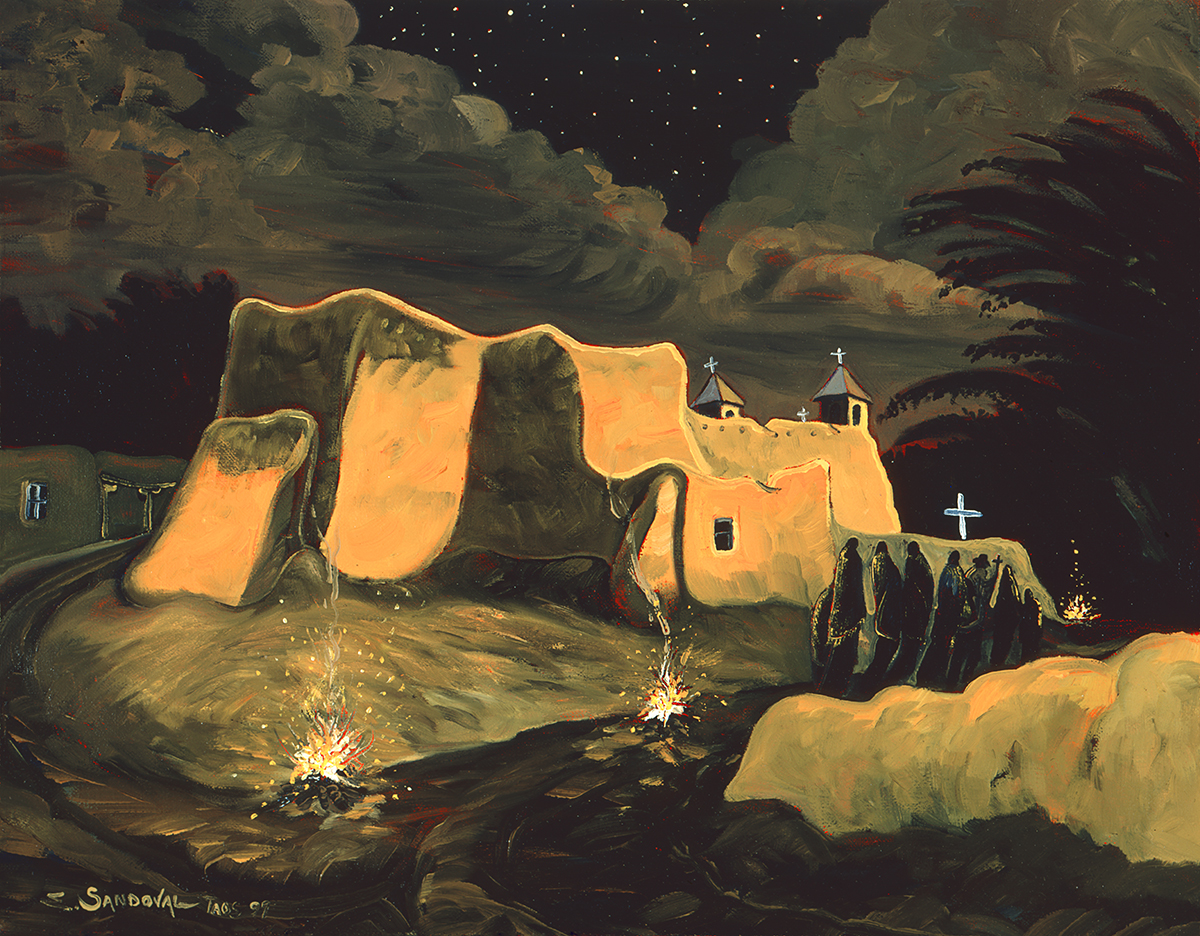FAROLITOS NEAR THE CHURCH (30 X 38)