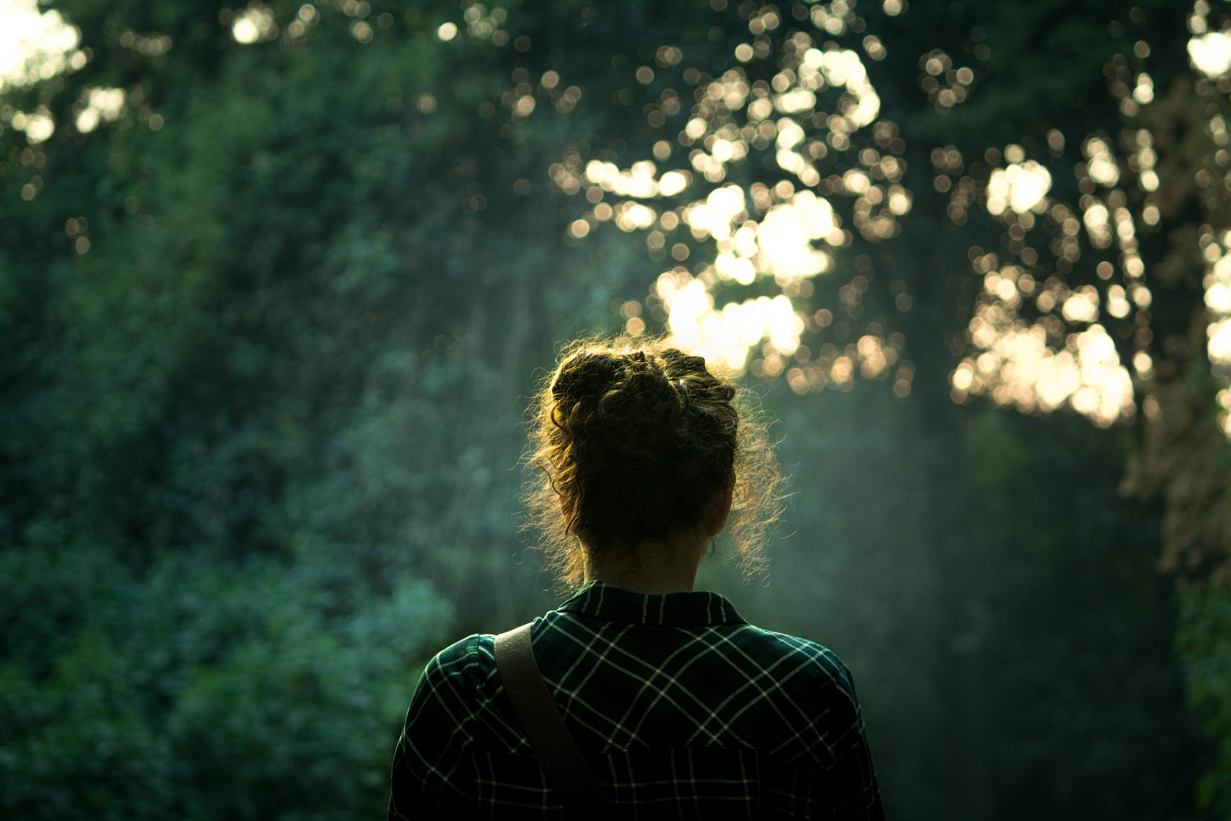 View of a woman's back as she stands in a green forest with light shining through the trees.