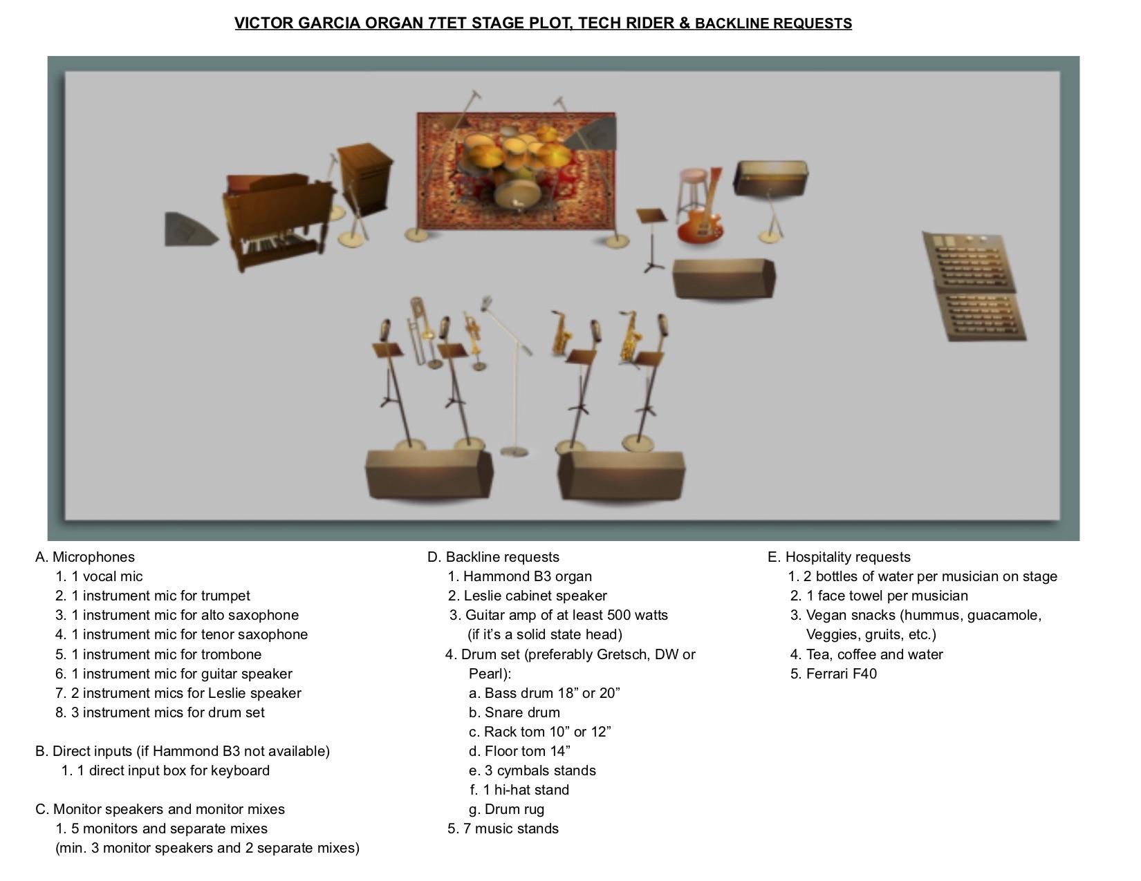 VICTOR GARCIA ORGAN 7TET STAGE PLOT/TECH RIDER