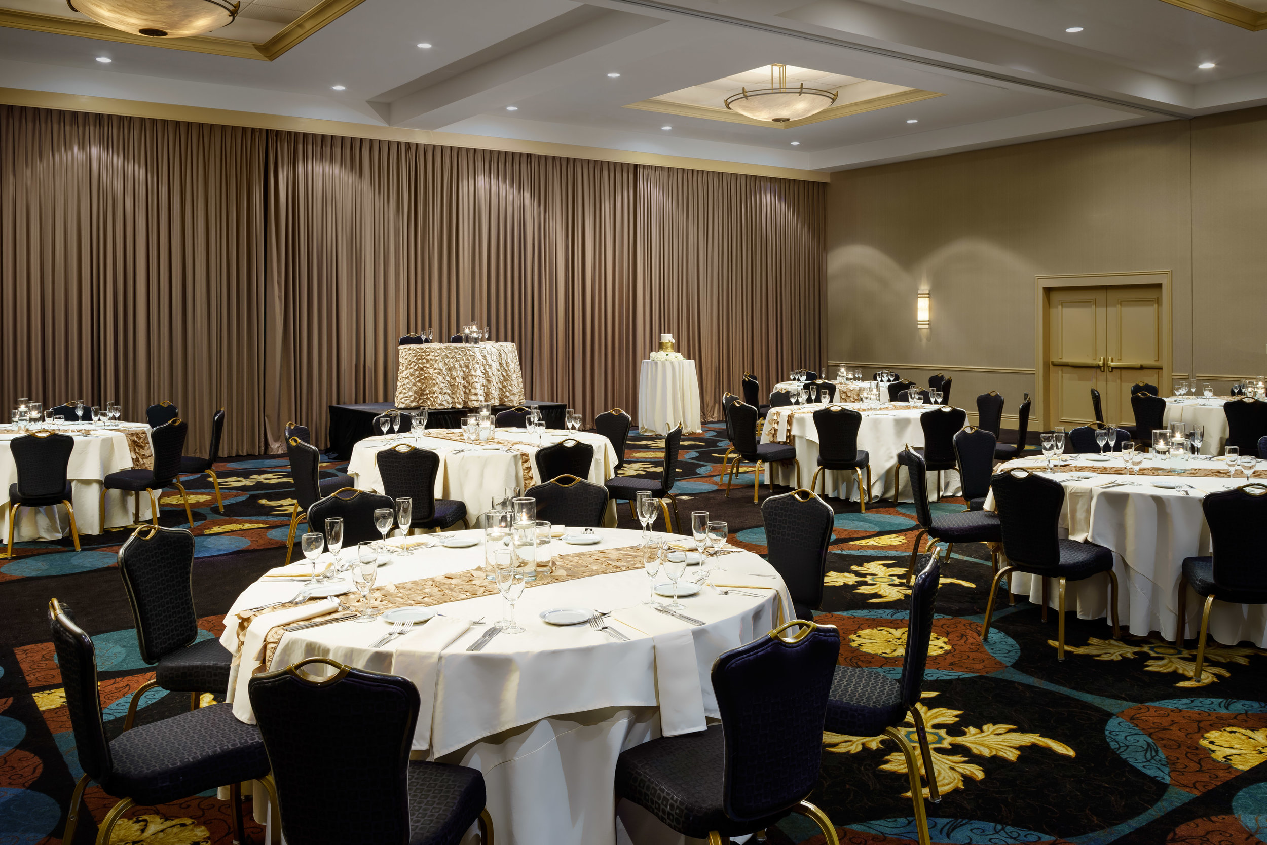 Elegant Reception - For your reception, we offer the spacious University Ballroom. This elegant space can accommodate any number of themes and visions, and features a parquet dance floor.