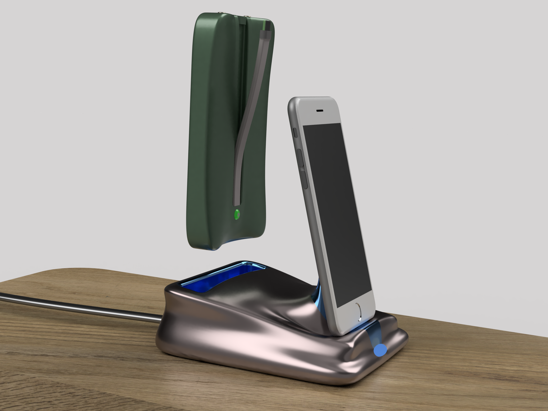 Phone charger with removable portable USB power bank