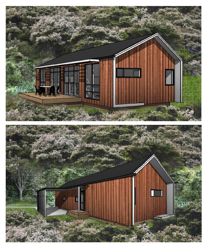 2 Bedroom Render showing Gable Roof Option