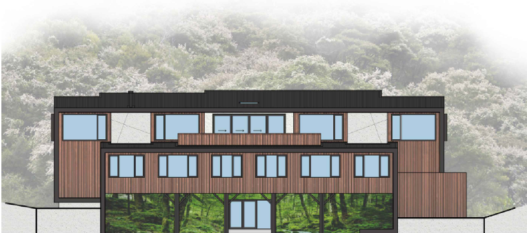 Architectural Render of the new Yoga Centre, Community House and Apartment