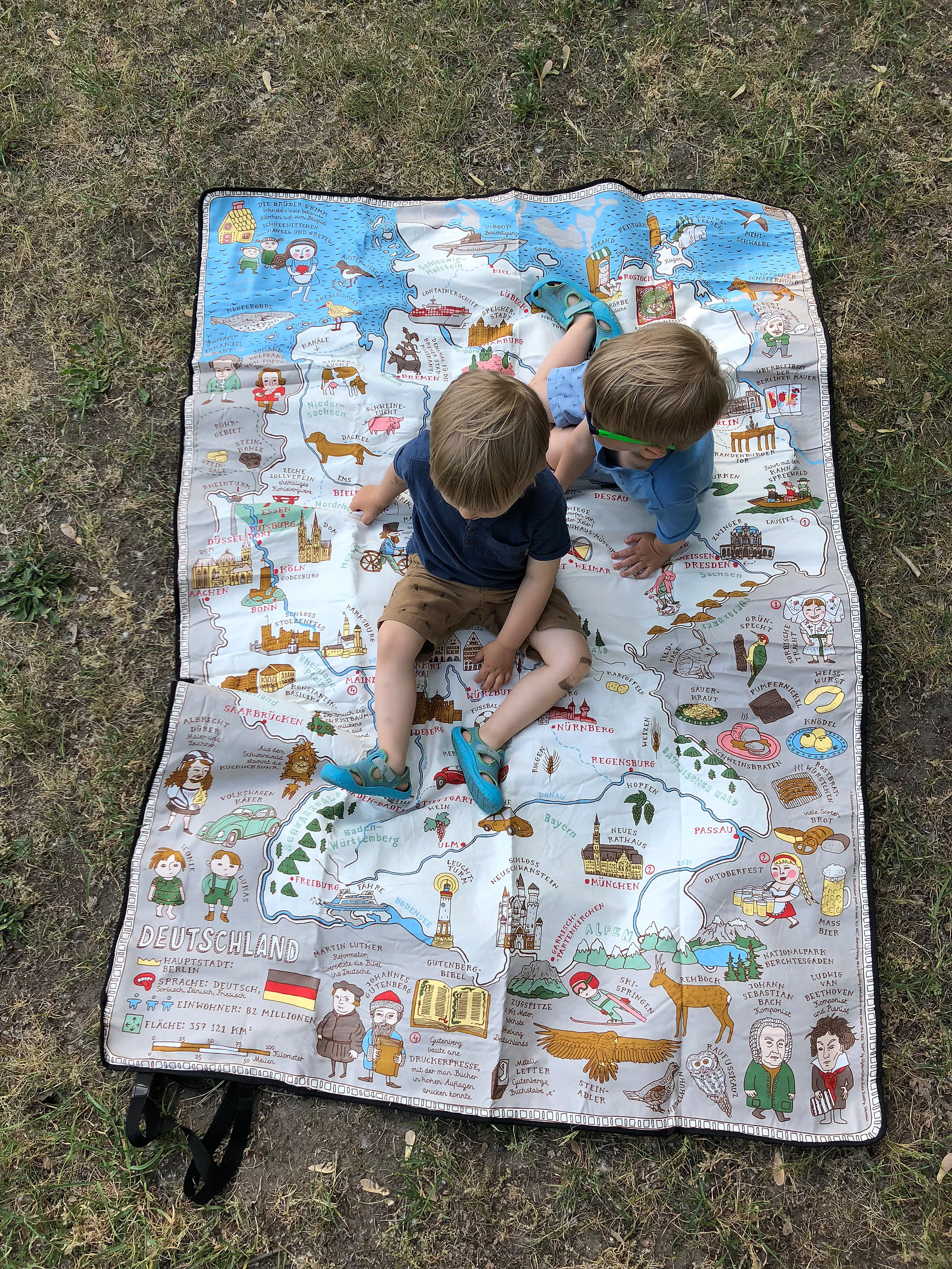 """Blanket with a map of Germany from """"Maps"""" book."""