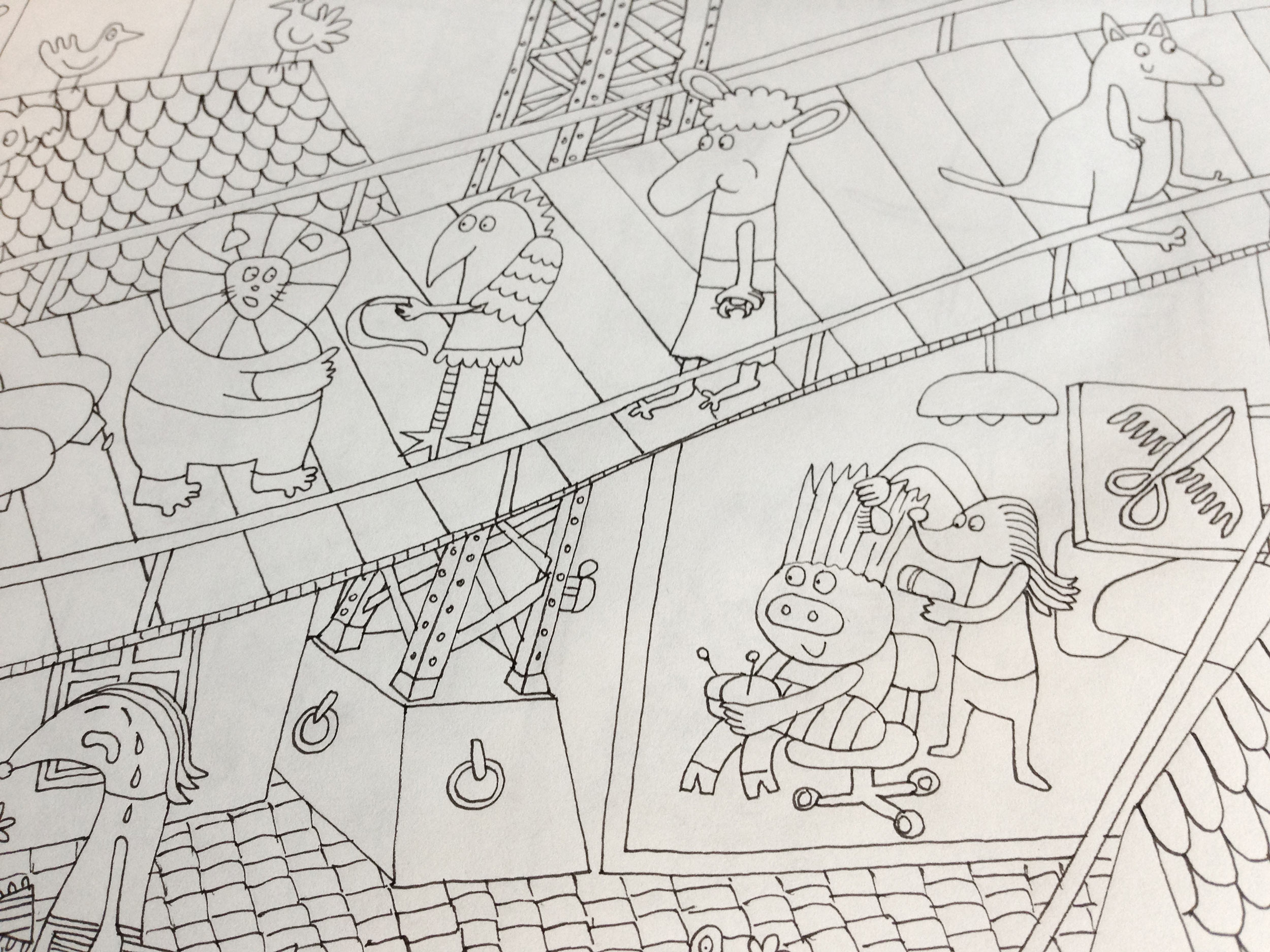 Tracing the draft with fine liners and adding textures and more details.