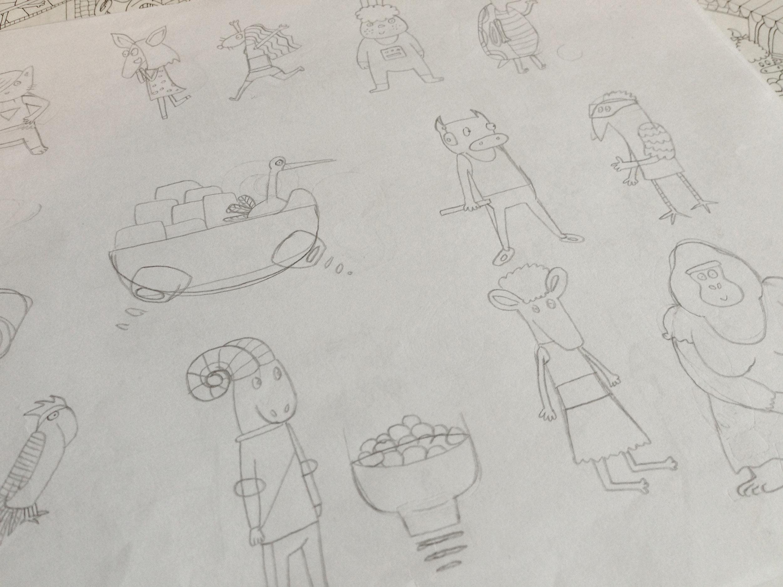 Sketching characters.