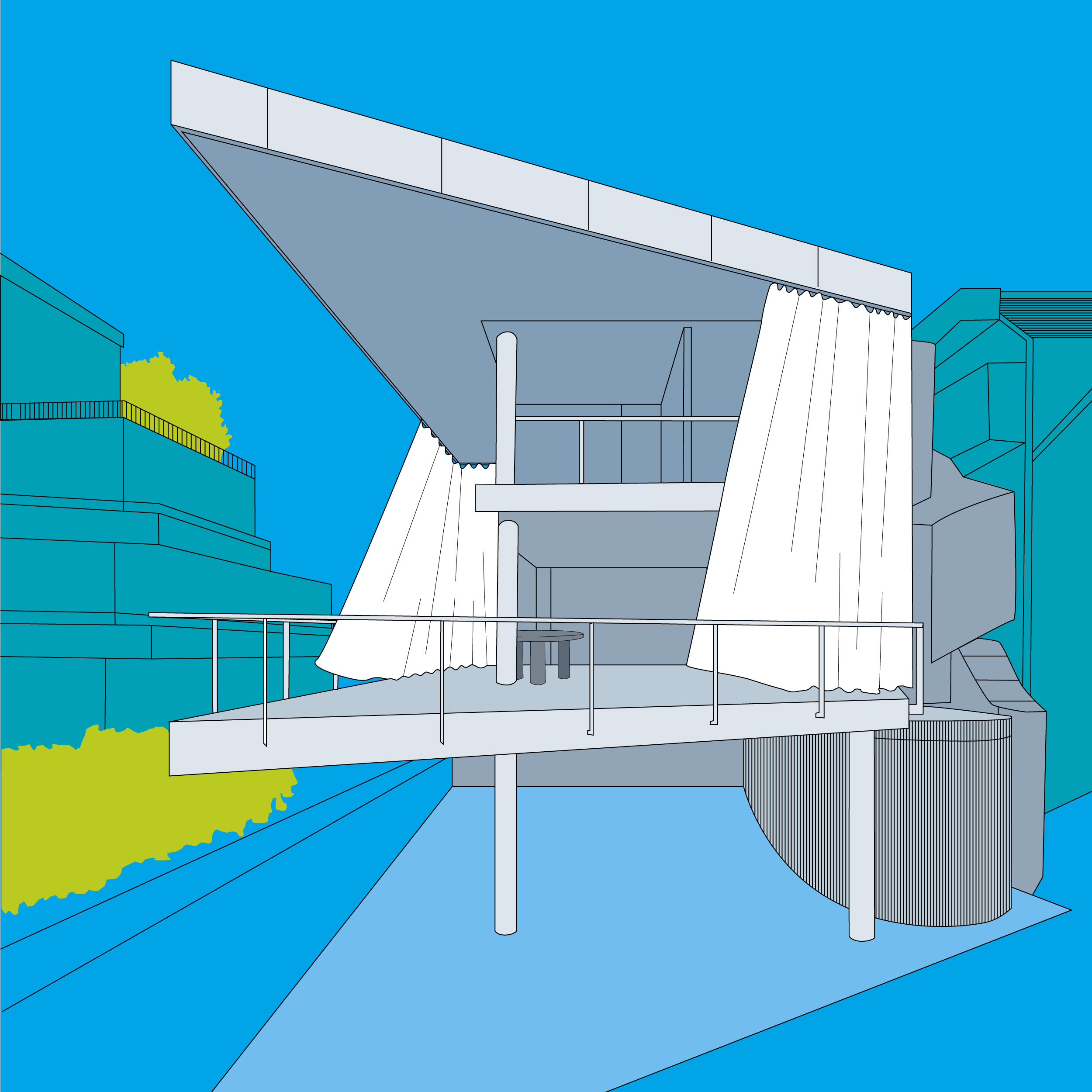Vector drawing made in Adobe Illustrator.