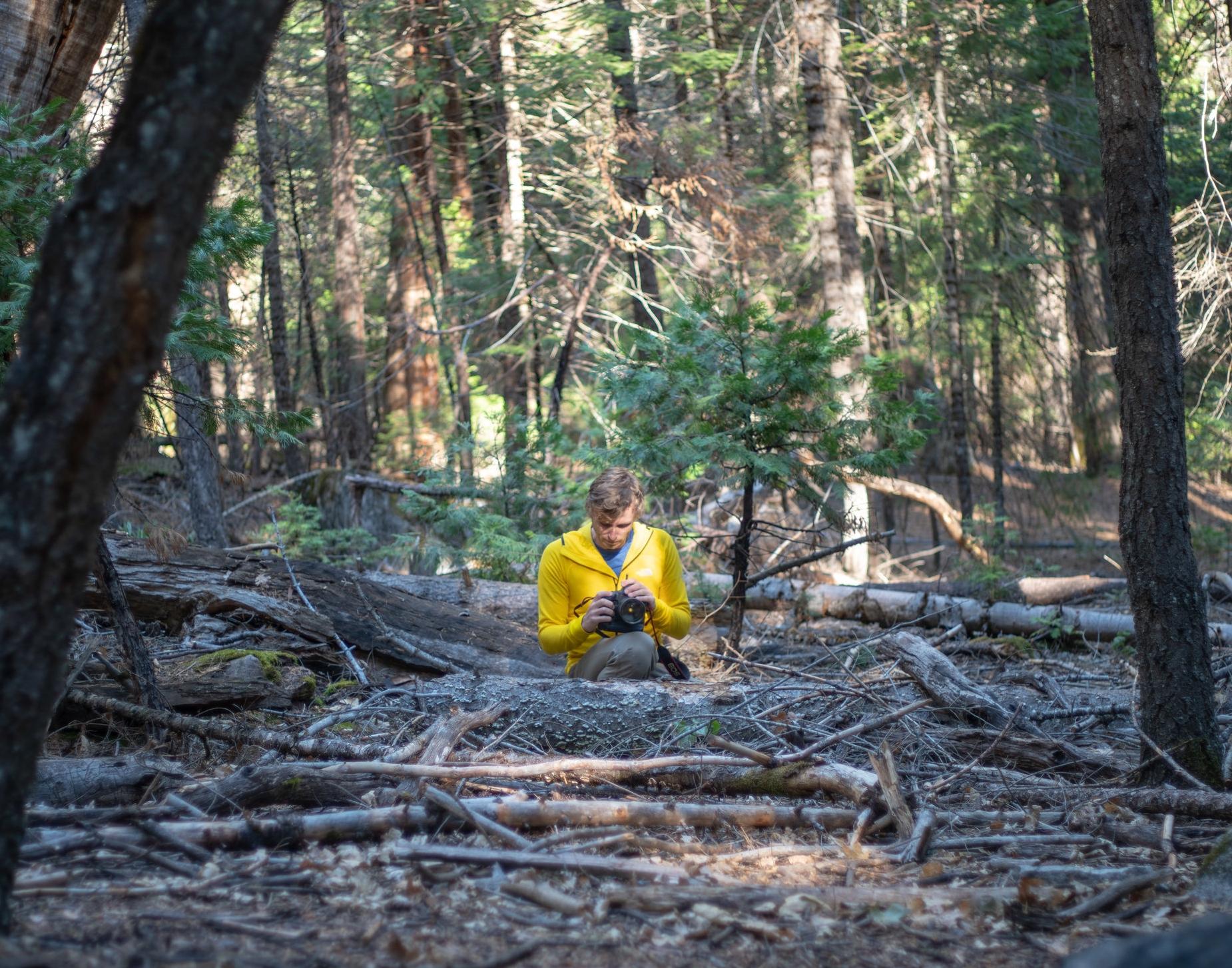 Samuel prepares to shoot Jordan Cannon in Yosemite Valley