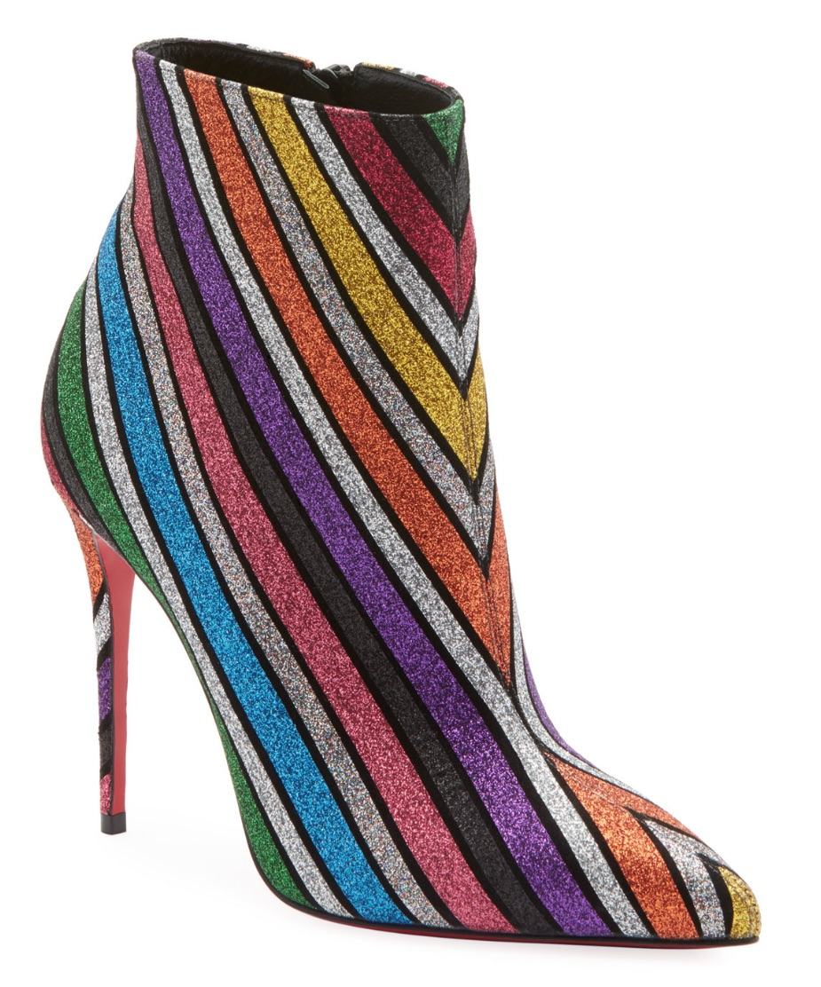 Christian Louboutin  So Kate Stripey Glitter Suede Red Sole Booties  $1,295