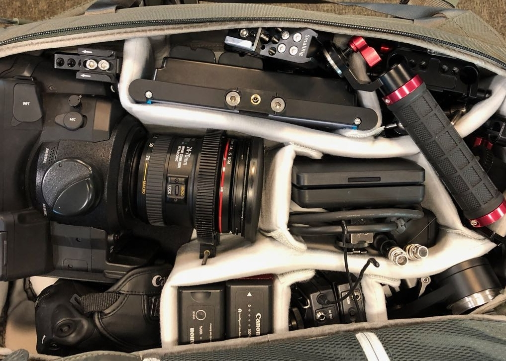 Canon C300 crammed into an Encase Backpack