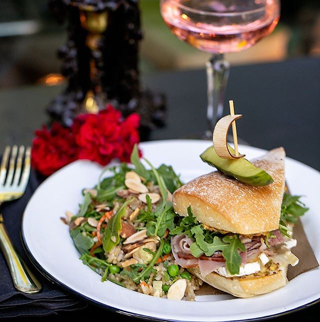 The NEW Parisian Ham Sandwich is stone ground mustard, Brie, cornichons, Black Forrest ham, & arugula. Pictured here with a side of brown rice salad. (My favorite.) . . . . . . .  #happyhourpdx  #picnicpdx #23rd #NW23rd #pdxbar #happyhour #portlandor #portlandrestaurants #pdxsandwich #portlandhappyhour #pdxrestaurants #pdxeats  #hhsnacks #travelportland #traveloregon #foodielife #portlandbars #craveportland #cocktails #queer #portlandfood #lgbtq #love #pdxbartender #cocktaillife #julesbianchiphotography  #mixology #parisanham