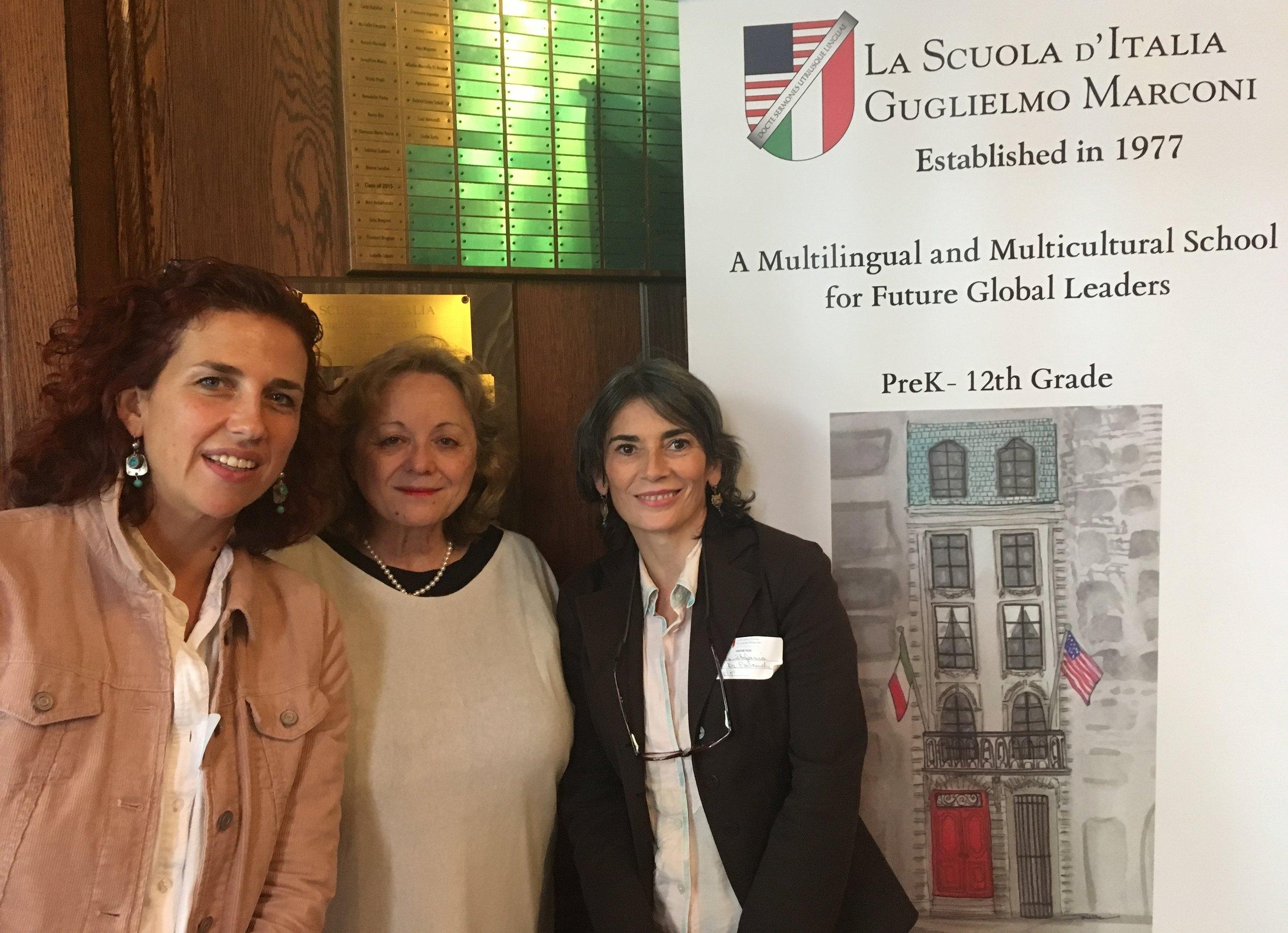 Stefania & Benedetta with Maria Palandra, the Principal of La Scuola d'Italia Marconi - October 2018