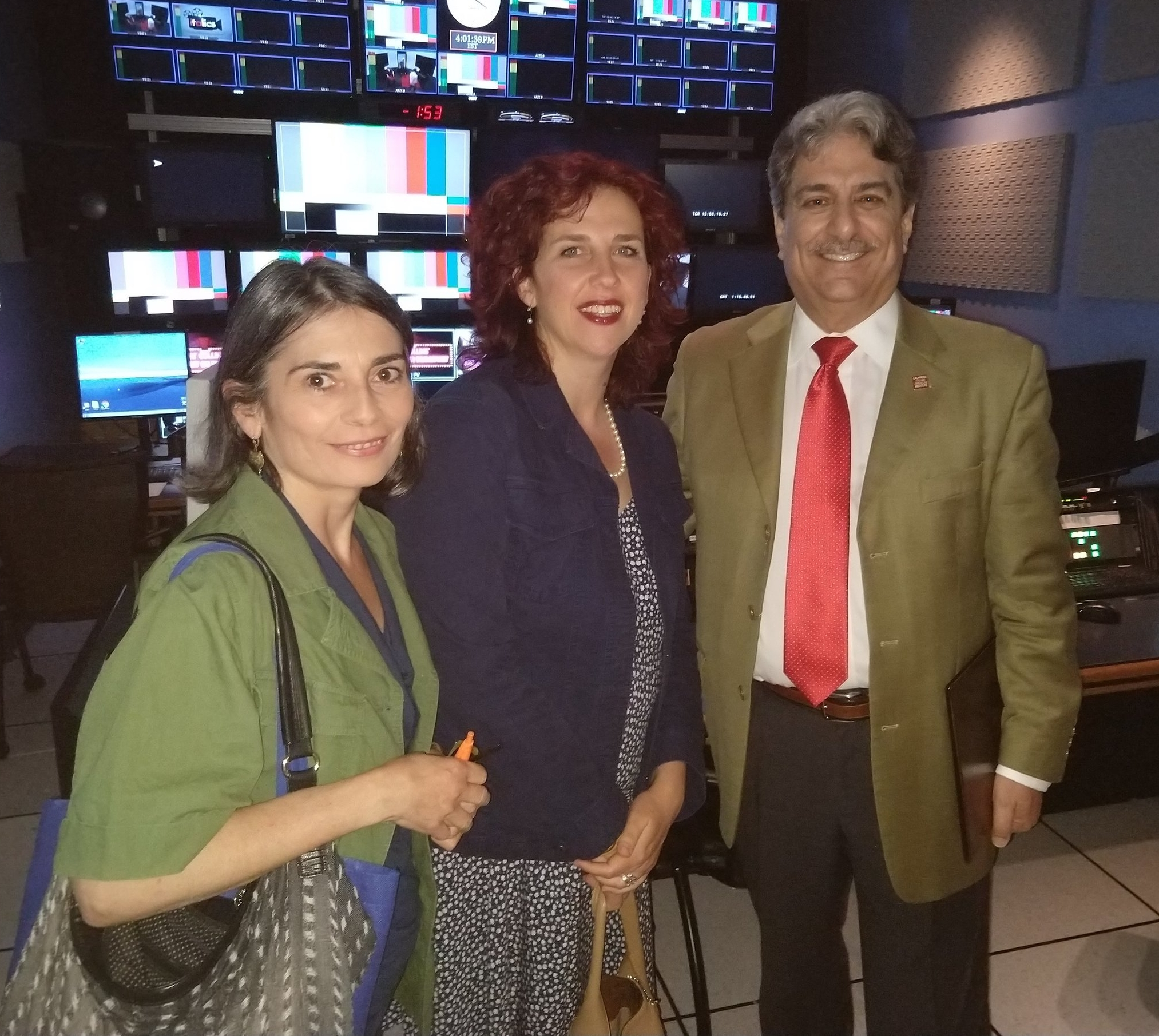 "Stefania & Benedetta with Anthony Tamburri, after the interview for CUNY TV's show ""Italics"" - May 2018"
