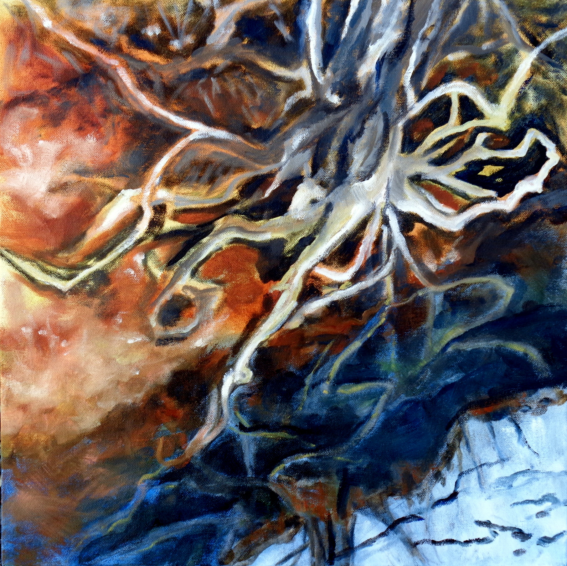 """Sending Out Roots by the Stream"" oil on canvas - ""I was looking down in the Eno River at the roots of a tree. My initials were visible in the submerged roots. I experience a lot of magical things walking my dog on the MST."""