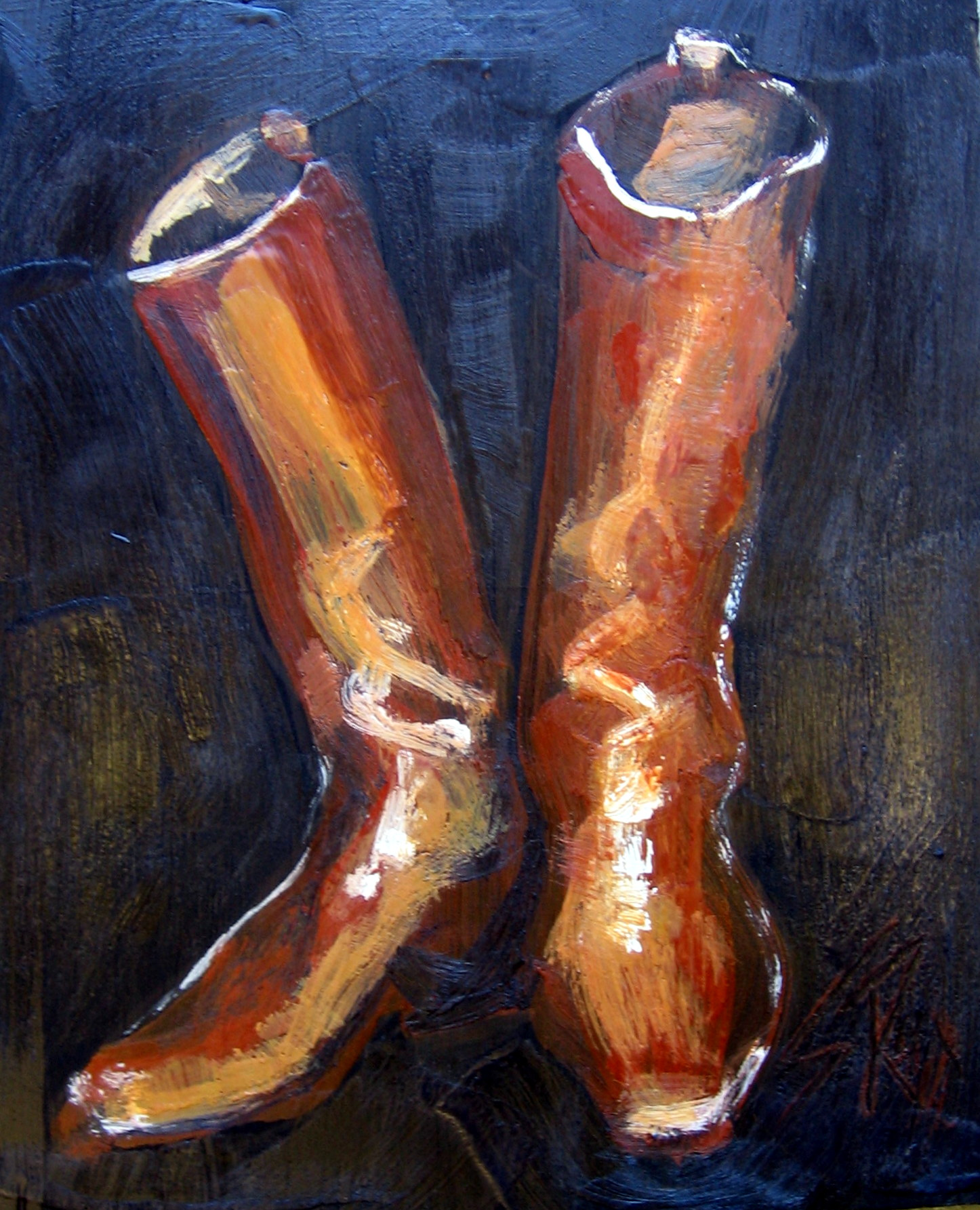 """""""Boots"""" 8x10"""" Encaustic On Wood Panel SOLD"""
