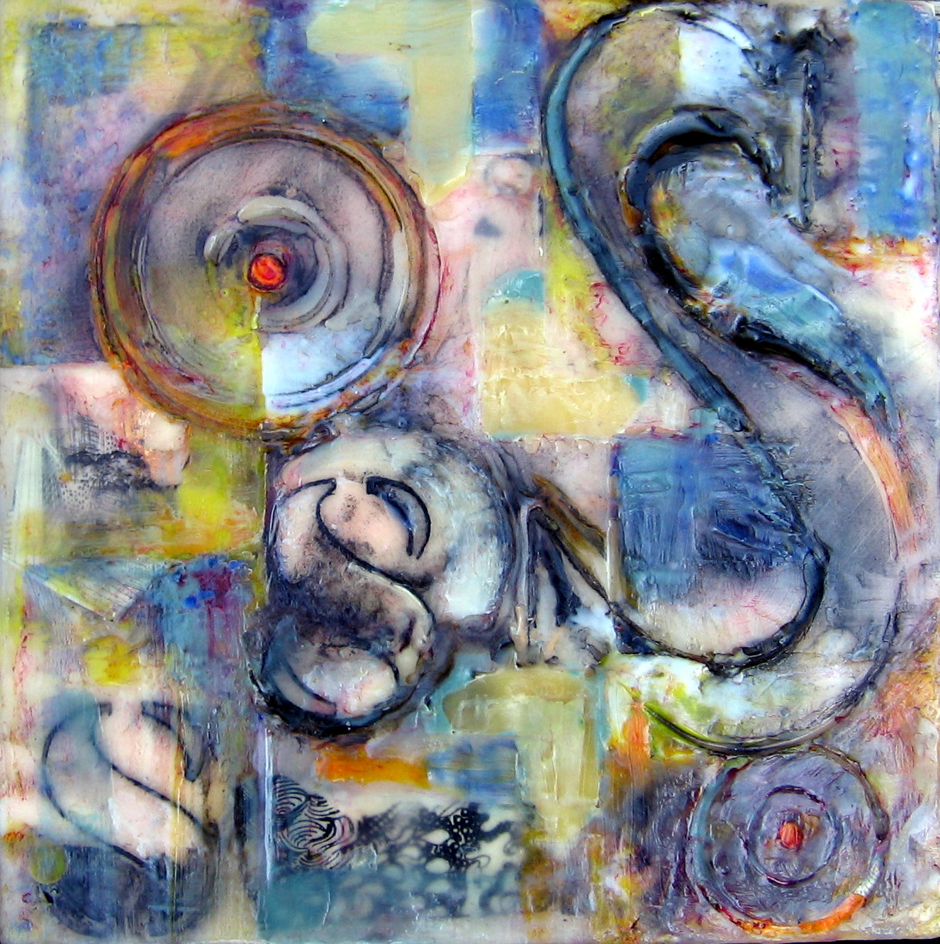 """""""S Curve"""" 8x8"""" Encaustic On Wood Panel SOLD"""