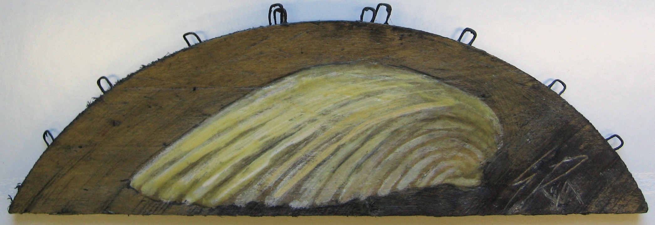 """""""Shell"""" 4x12"""" Encaustic On Wood Panel SOLD"""