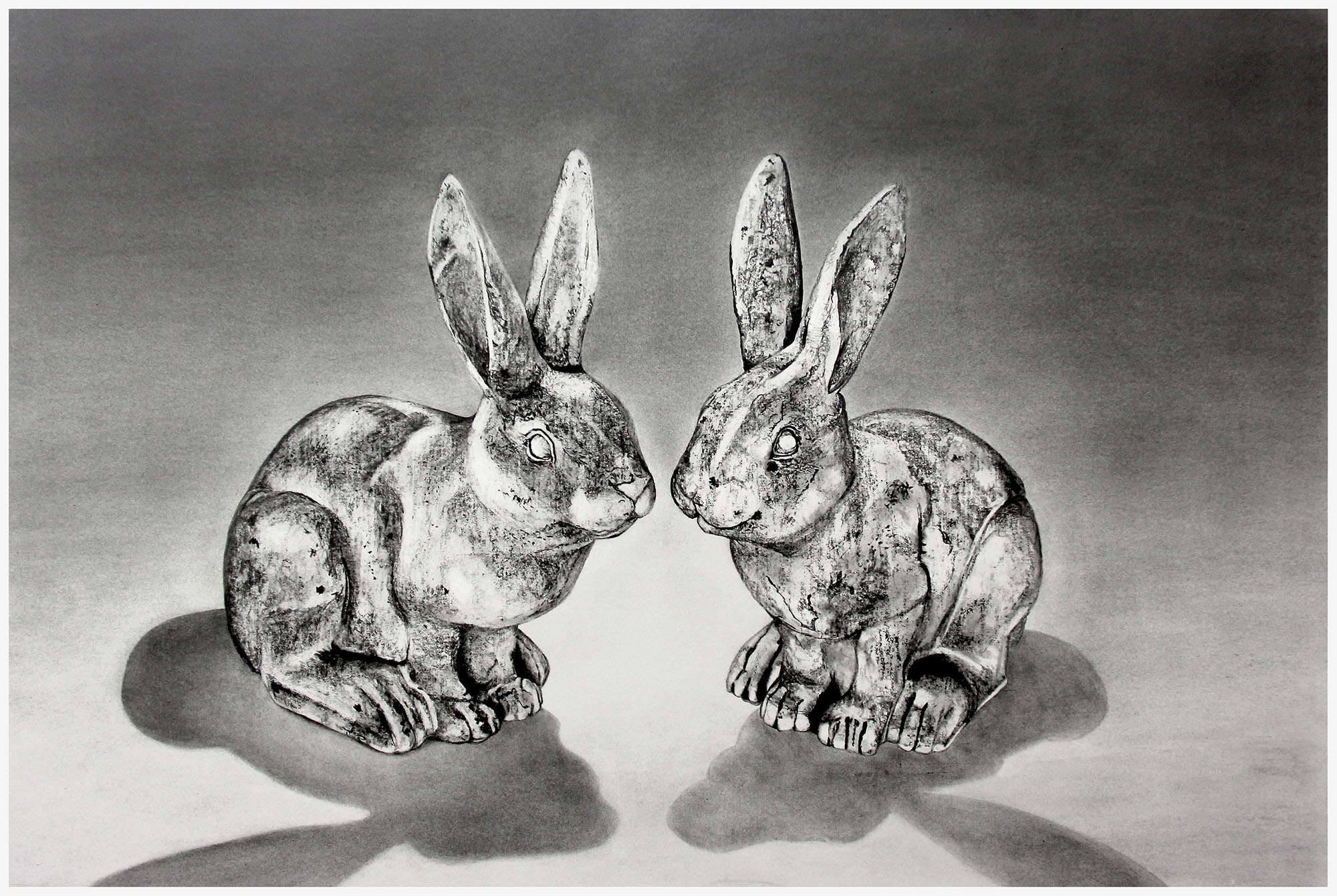 - 'Bunny Love'Graphite Drawing on paper/adhered to wood panelwith a wax finish ready to hang. 914mm x 610mmAlso available as a print$850ENQUIRE