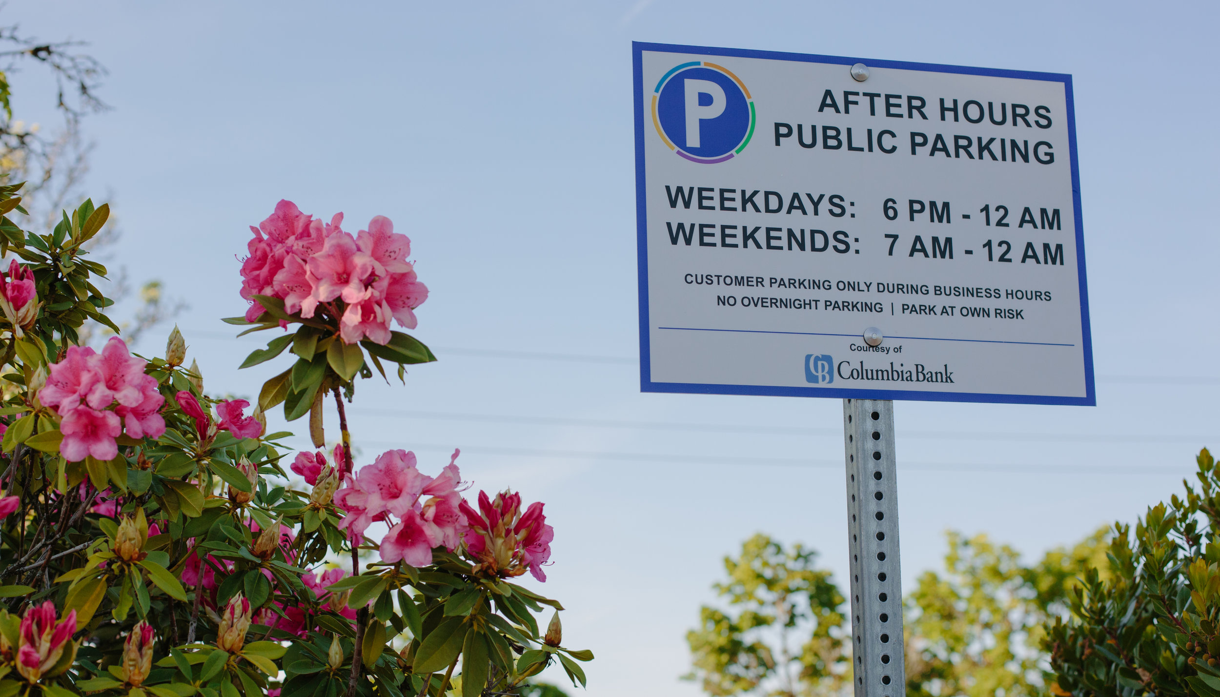 Columbia Bank in Downtown Beaverton have provided after hours public parking