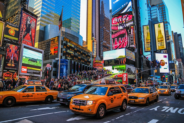 Times Square, New York City. Image credit:   Richard Burger  , Flickr.com - Under Creative Commons