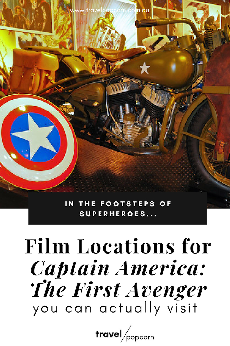 Do you love Marvel and travel? Walk in the footsteps of superheroes with our Marvel tourist series. Visit the locations used to film  Captain America: The First Avenger . The only guide you need to explore the actual sets used in the Marvel series. Travel and relive your favourite movie moments at the same time! #captainamerica #firstavenger #marvel #nerdtravel #avengers #disneytravel