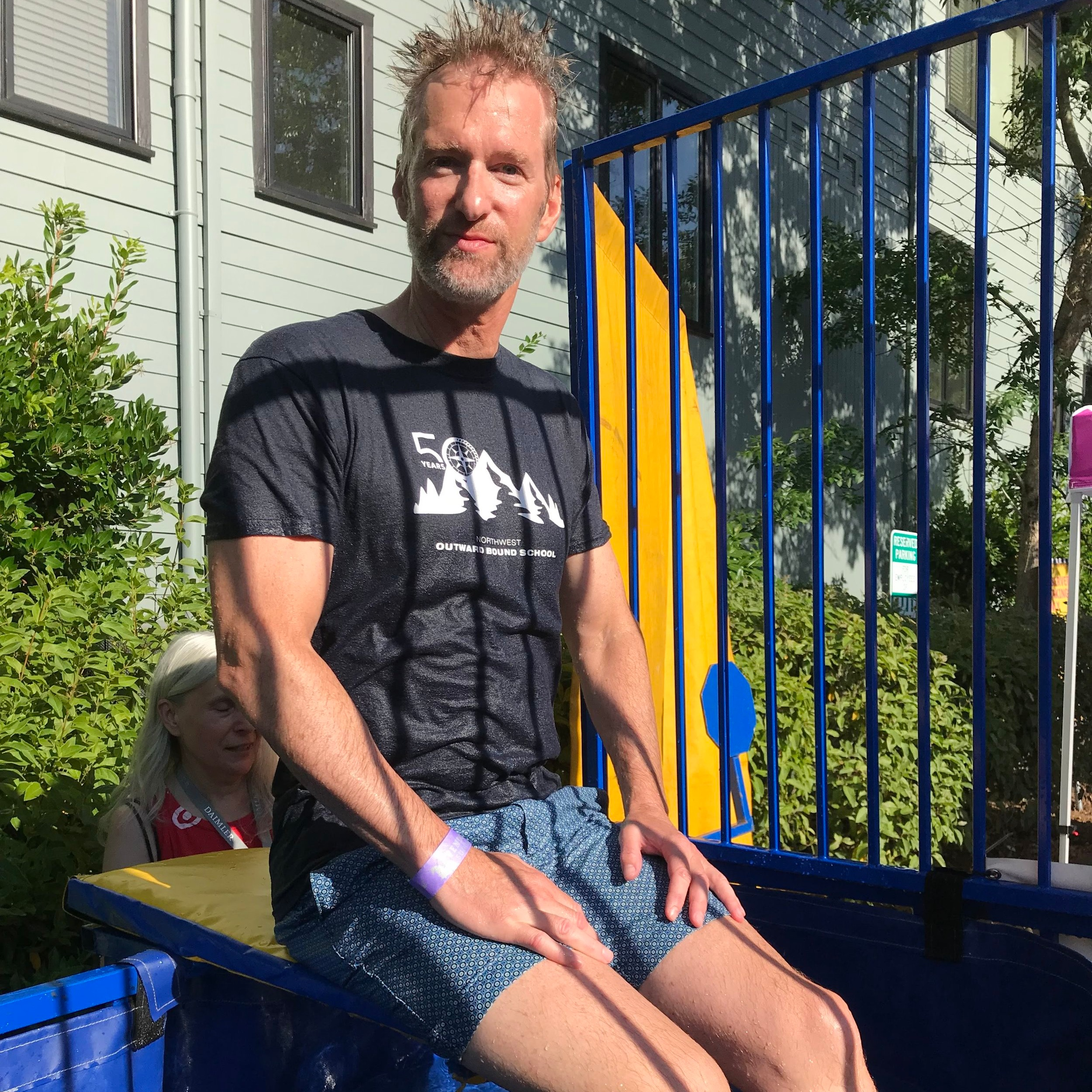 Mayor Ted Wheeler in the Dunk Tank.