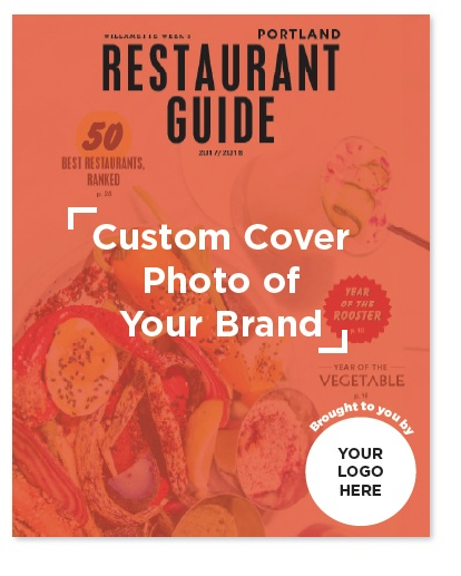 Present your own Restaurant Guide with your brand's logo on the cover, and/or with the cover art featuring your brand, shop or service. Strategically distribute your custom guide for maximum impact.