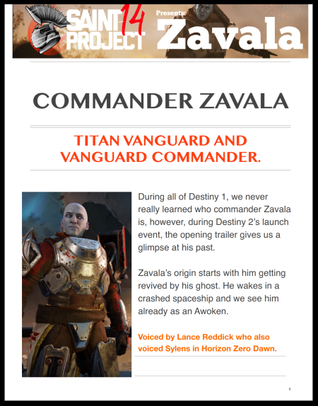 He stands for law, order and protection of the last city. He is almost obsessed by this where all of his decisions are made with this thought in mind. He embodies what it is to be a Titan as they stand and defend, holding the line, building the wall and stopping whatever tries to break through. - Commander Zavala
