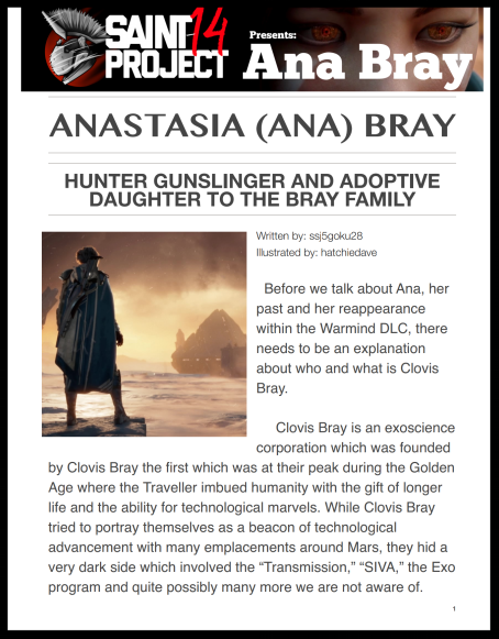 She wants to understand her past, who she was, what she did and how to use this knowledge to best help the people of earth now. - Ana Bray