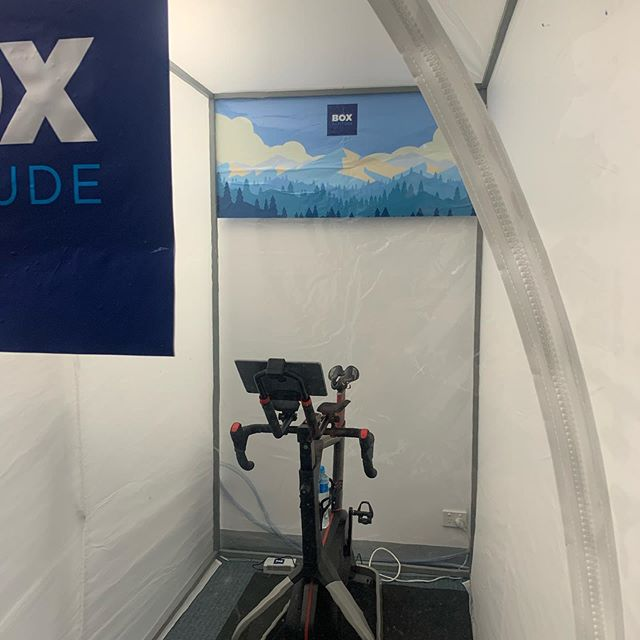 Check out our demonstration Training Cloud system at @factorbikesaustralia in Sandringham. @wattbikeaus @novofitaus #boxaltitude #altitudetraining #sleephigh #nepal #altitudetent #sleephightrainlow #ironmantraining #wellness #livewell #vegan #cycling #running #marathontraining #ironman #sleephighdreambig #weightloss #loseweightwhileyousleep #sleepyourselfslim #paincave #sleepcloud #trainingcloud