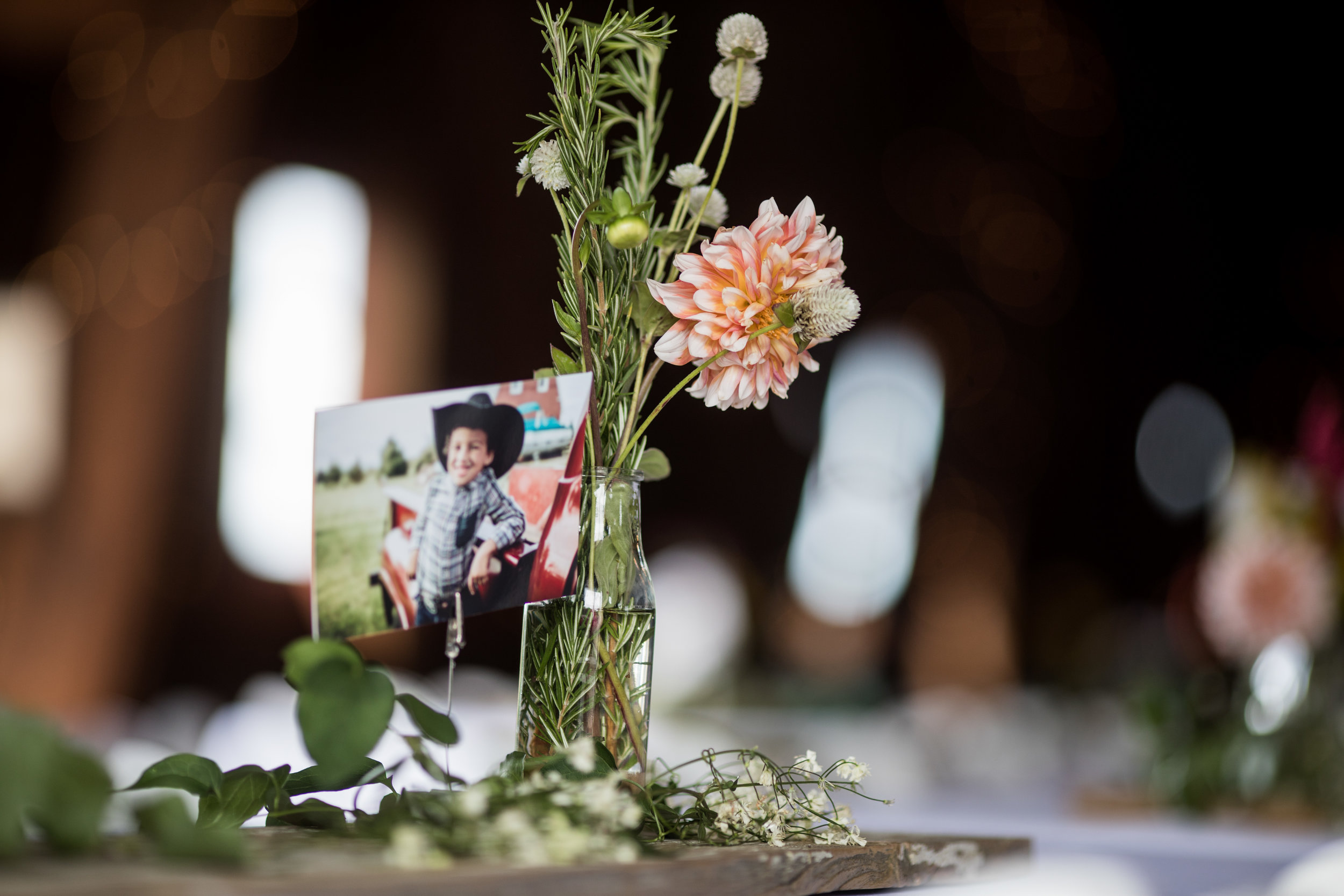 Table Centerpiece at Barn Wedding Venue