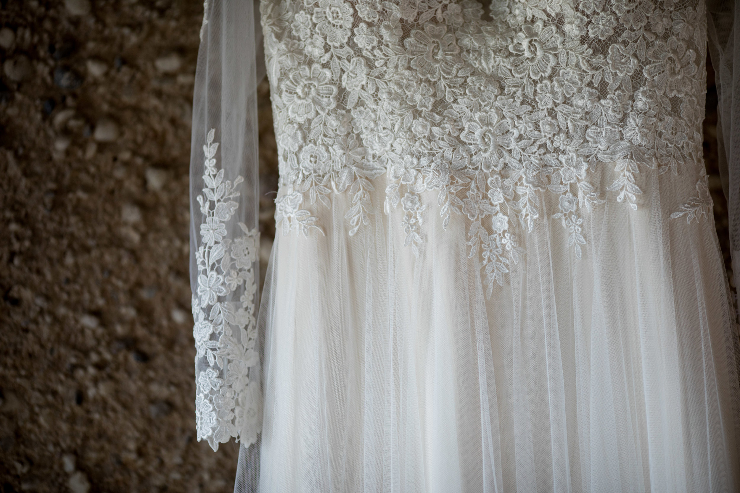 Close Up of The Dress at Barn Wedding Venue