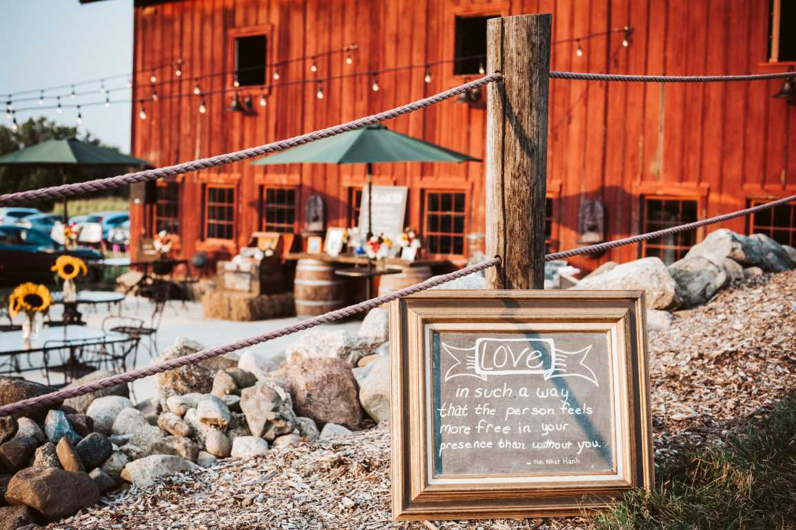 Barn Wedding Decor - Chalkboard Sign with Quote