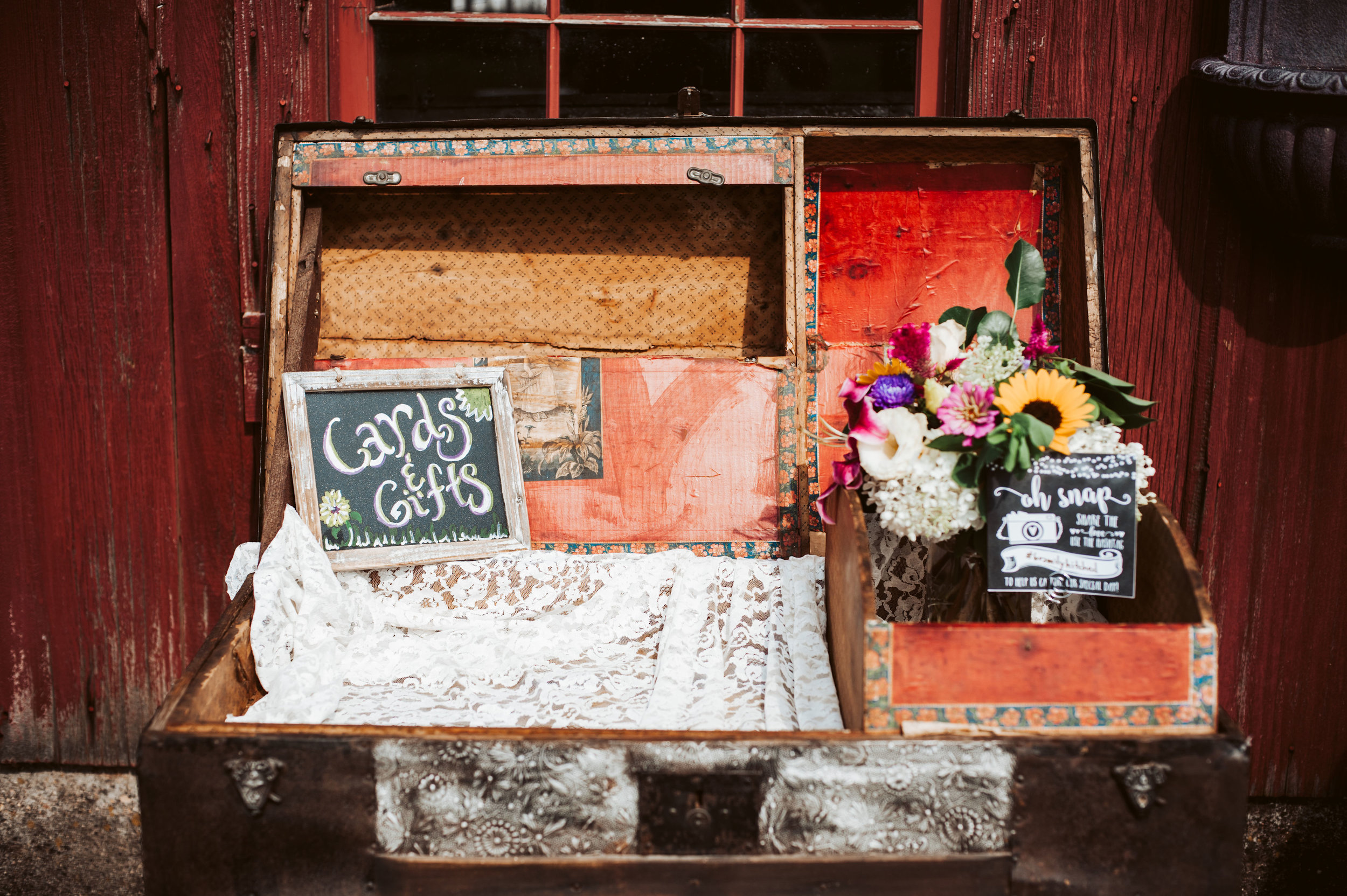 Cards and Gifts at Barn Wedding