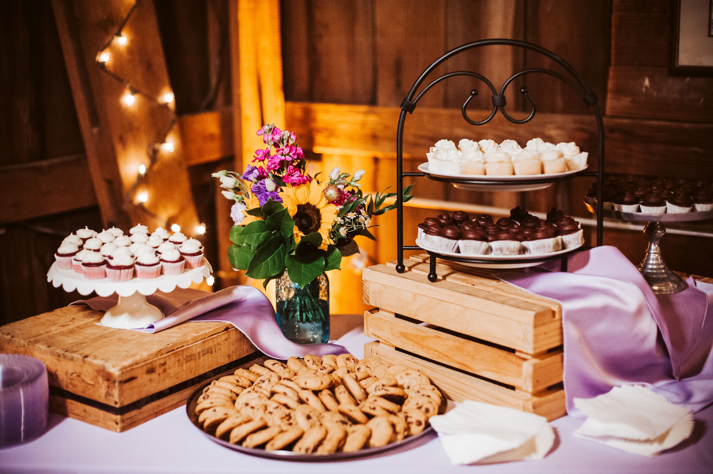 Sweets Table at Barn Wedding Reception