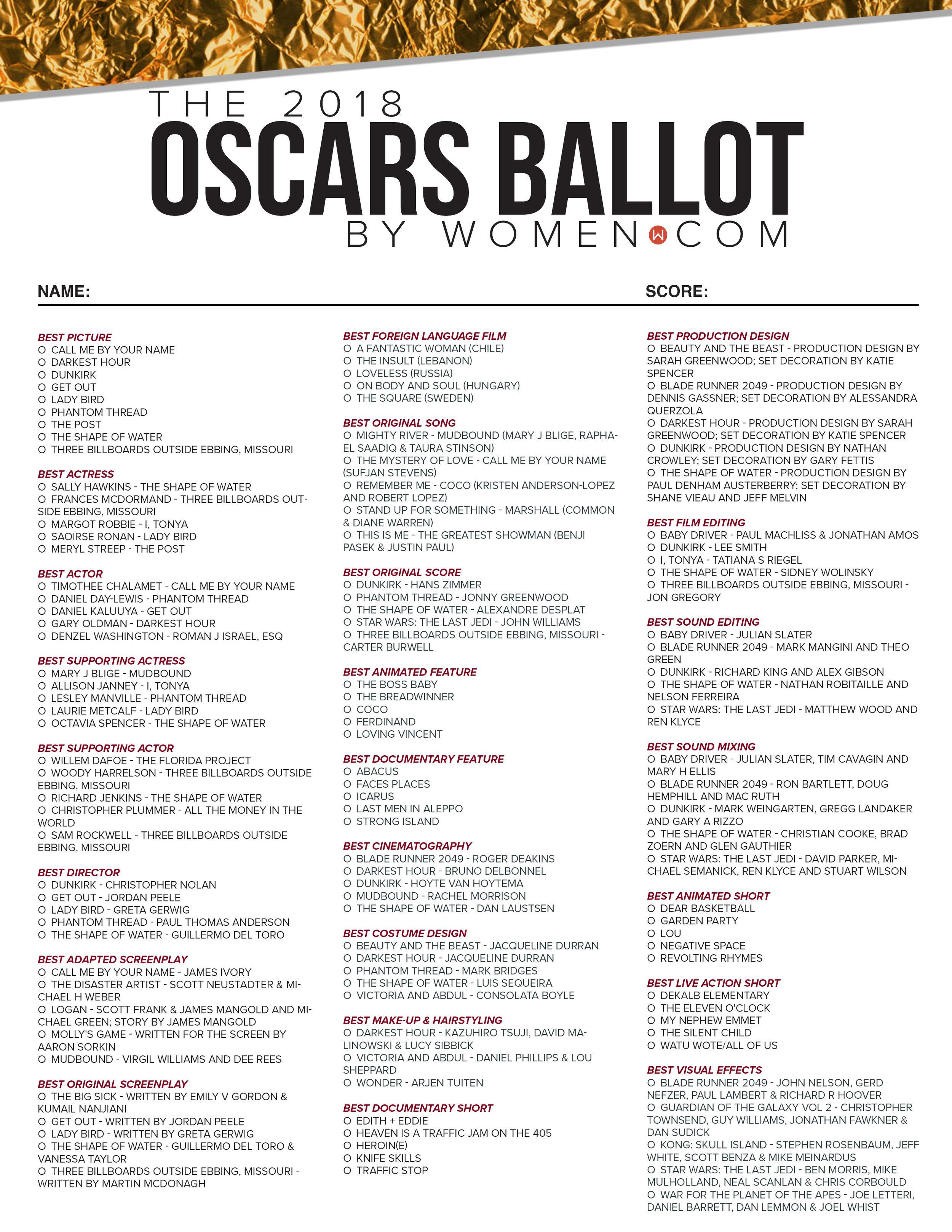 Oscars 2018 Printable Ballot