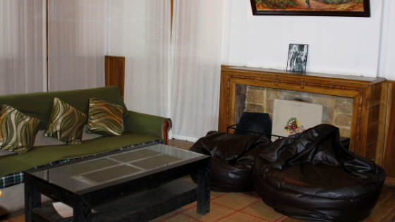 The sitting area of the guest house