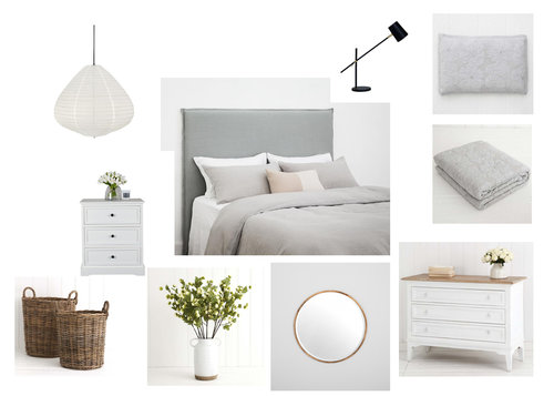 Creating a farmhouse style bedroom in a private residence in Jan Juc. The brief; feminine and calming - 'but not too girly for my husband' (please note - we swapped out pink cushions for green ones!)