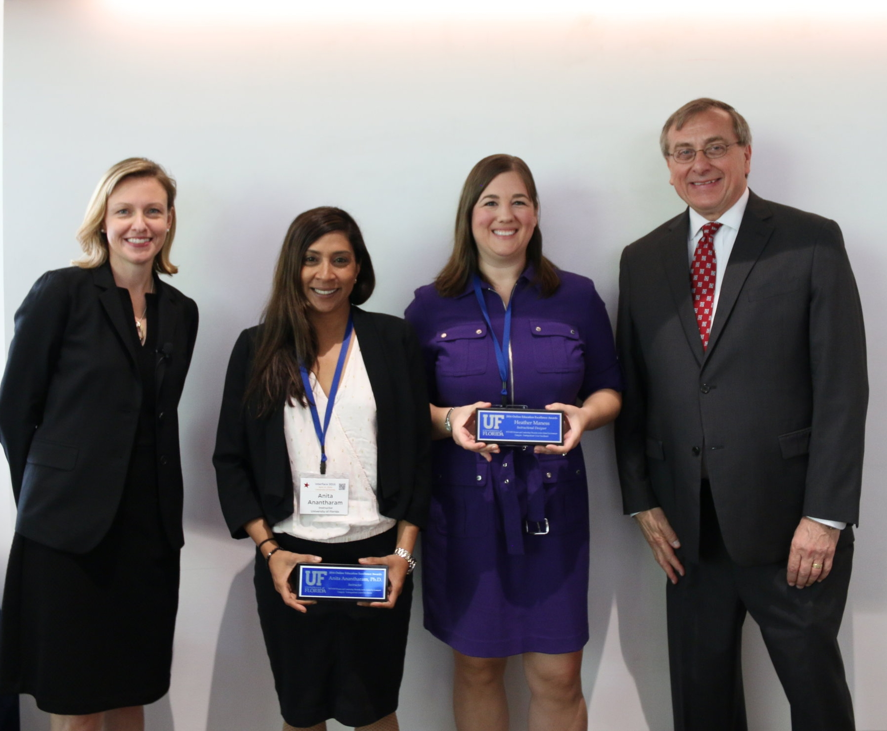 Online Excellence in Teaching Award Ceremony, 2016. From left: Associate Provost Evie Cummings, Dr. Anita Anantharam, Course Instructional Designer Dr. Heather T. Daniel Maness, and UF President Dr. W. Kent Fuchs