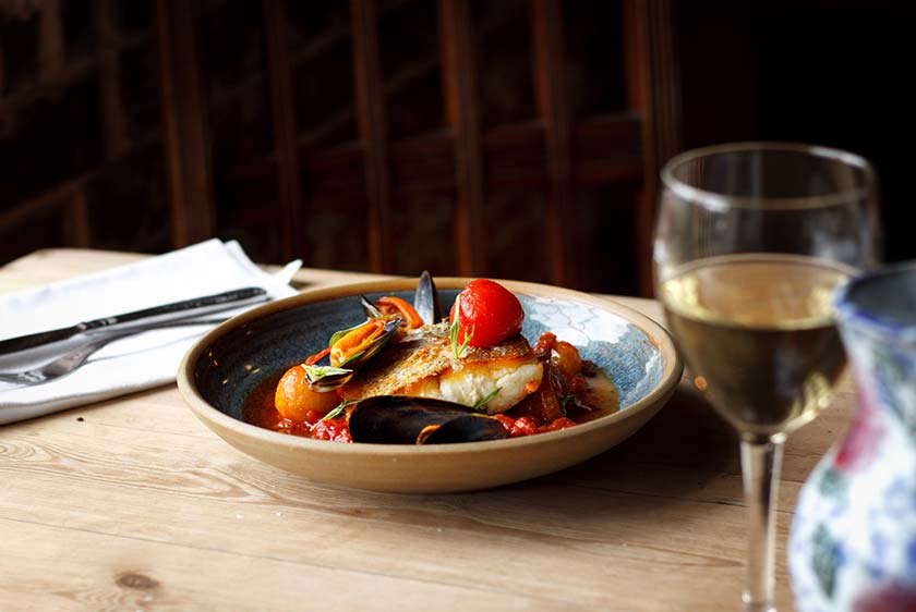 Hake, tomatoes, mussels - all sourced metres away from the market stalls at the Goods Shed