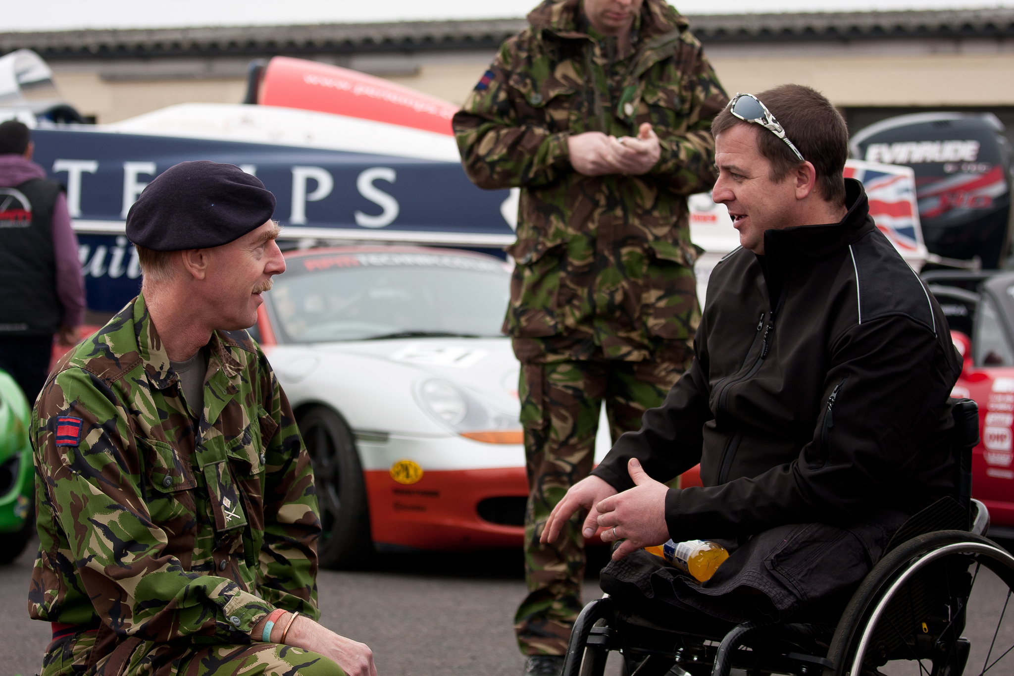 Sgt Gav Harvey, one of the founders of Mission Motorsport at the Charity's launch in 2012 with General Carew Wilks - Chairman of the British Army Motorsport Association