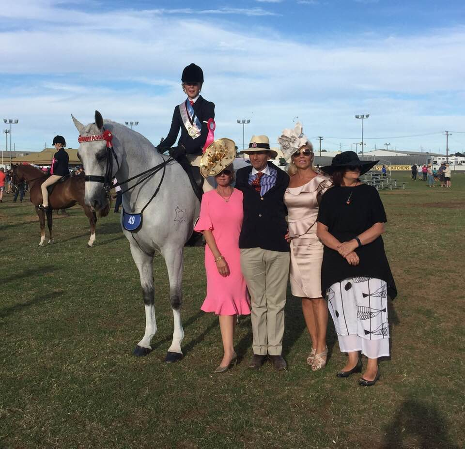 Gracie Goodyer pictured with the judges after winning the junior rider - photo via Lesley Goodyer