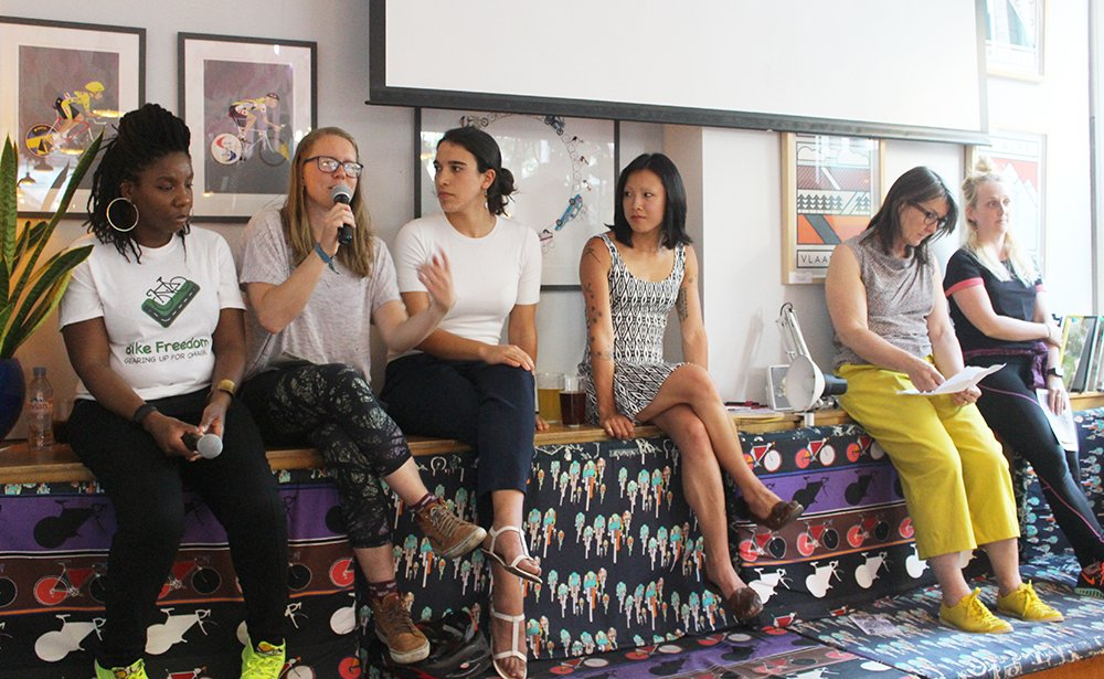 look mum no hands hosted a zine launch for  Mind the Cycling Gender Gap  in May 2018. Panel from left to right: Simone Salmon, founder of Bike Freedom; Nikki Ray, cycling instructor; Paola Zanotto, architect at Karakusevic Carson Architects; me (organiser and chair of the panel); Kay Hughes, founder of Khaa, a consultancy that focuses on design briefing and design team selection; and everyday cyclist Emma Illingworth.