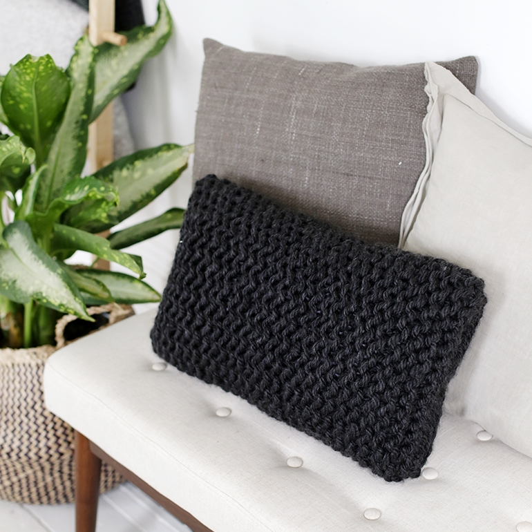 DIY knit pillow by The Merrythought