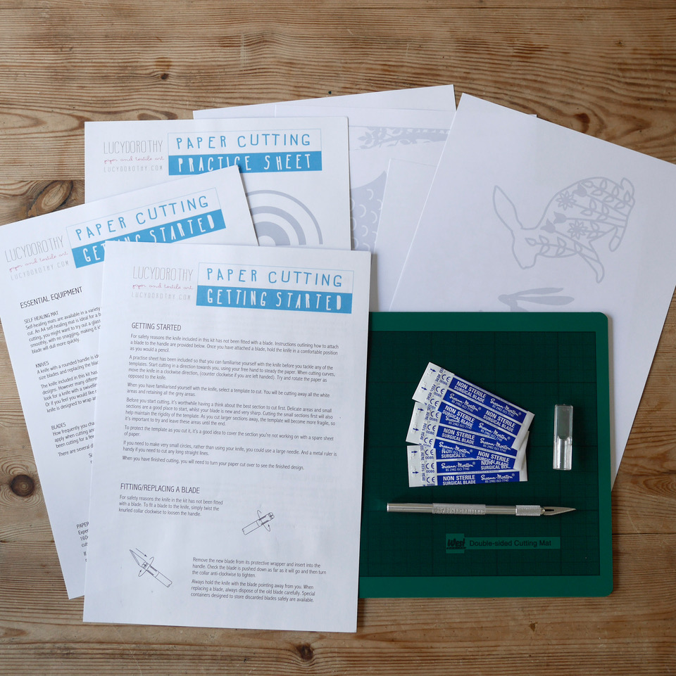 Paper cutting kit contents
