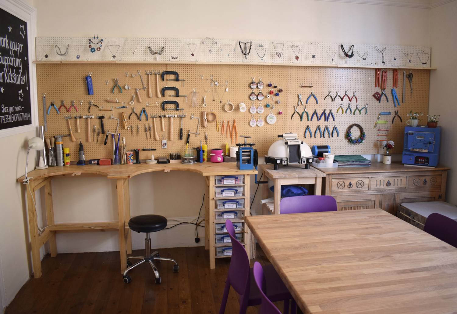 The Bead Shop's workshop area