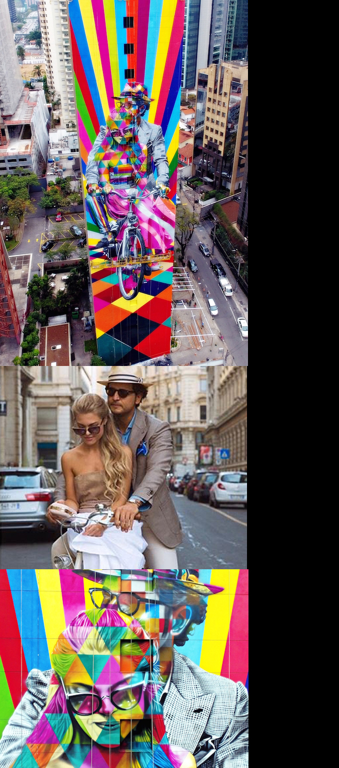 In September 2016 Roberto and Creative Director of The First Lady Bag Eleonora were selected for the appreciation of the high quality and style by the Government of Brazil for a new art work by the famous artist Eduardo Kobra who was included in the Guinness Book of Records.The 60 meters high building with image of Roberto and Eleonora wearing Mararo is located in San Paolo. -