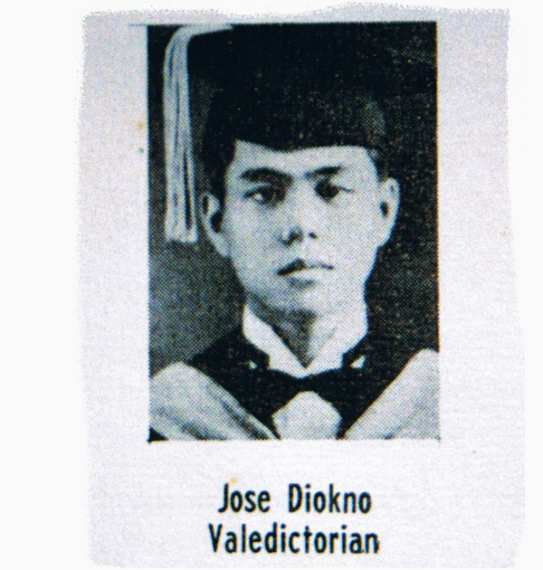 Jose W. Diokno was a brilliant student. He topped both the Bar and the board exams for Certified Public Accountants (CPA). - Jose W. Diokno (